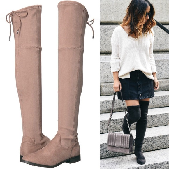 "2cf31699df6 DOLCE VITA ""Neely"" over the knee boots Taupe Brown"